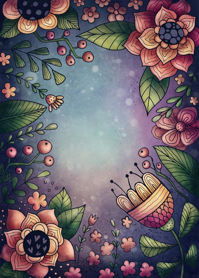 Flowers and plants frame. With copy space stock illustration
