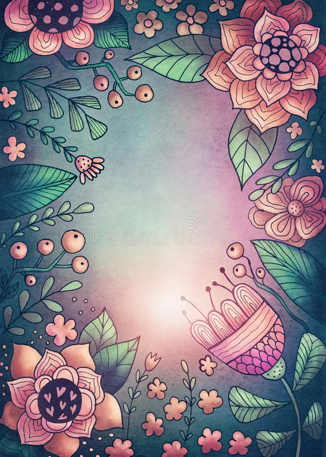 Flowers and plants frame. With copy space vector illustration