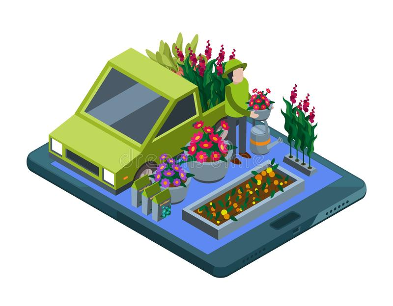 Flowers and plants online. Isometric flowers shop and plant delivery vector illustration. Business florist online store application, merchandise and delivering vector illustration
