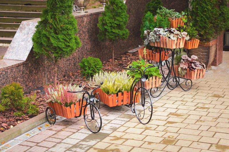Flowers and plants stand in pots in the form of bicycles on the street. On the pavement royalty free stock image