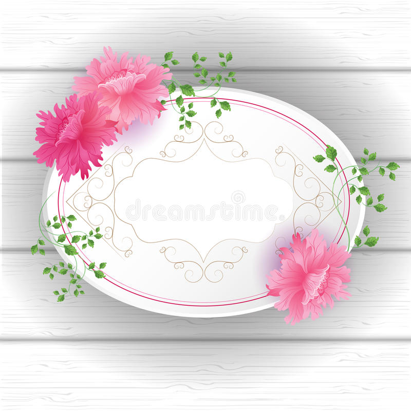 Flowers Postcard with vintage tag vector illustration
