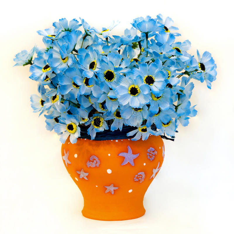 Flowers pot. Beautiful fresh blue flowers in terracotta pot stock photography