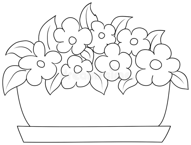 Flowers in a pot. Coloring book for children stock illustration