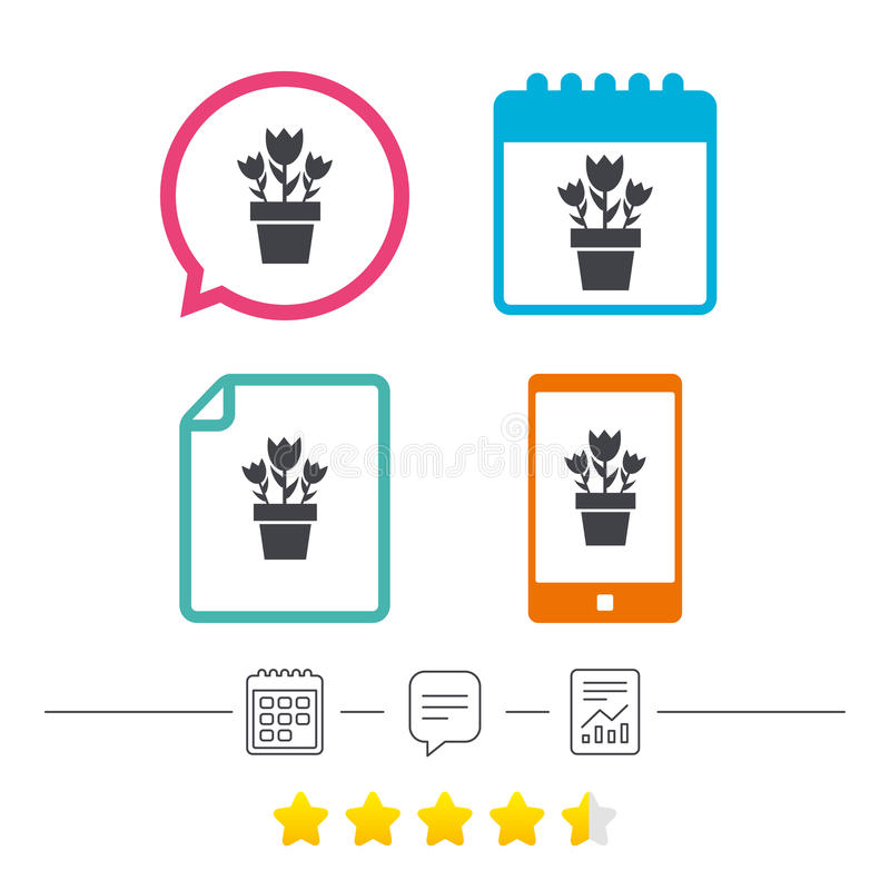 Flowers in pot sign icon. Bouquet of roses. Flowers in pot icon. Bouquet of roses. Macro sign. Calendar, chat speech bubble and report linear icons. Star vote stock illustration
