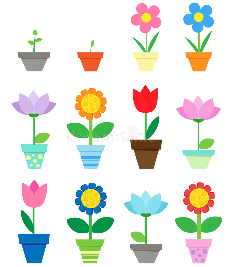 Flowers in pots stock illustration