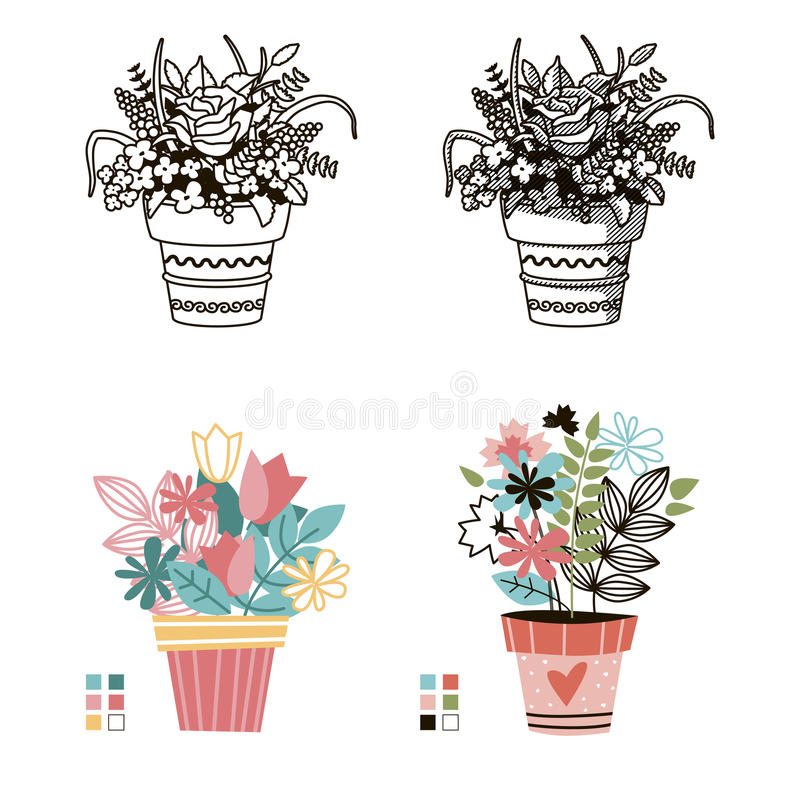 Flowers in pots. Painted black line on a white background. Colored cute style. Vector. vector illustration