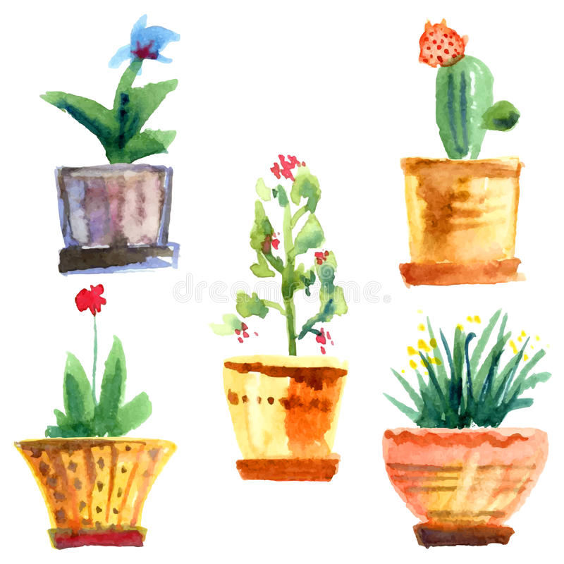 Flowers and pots stock illustration