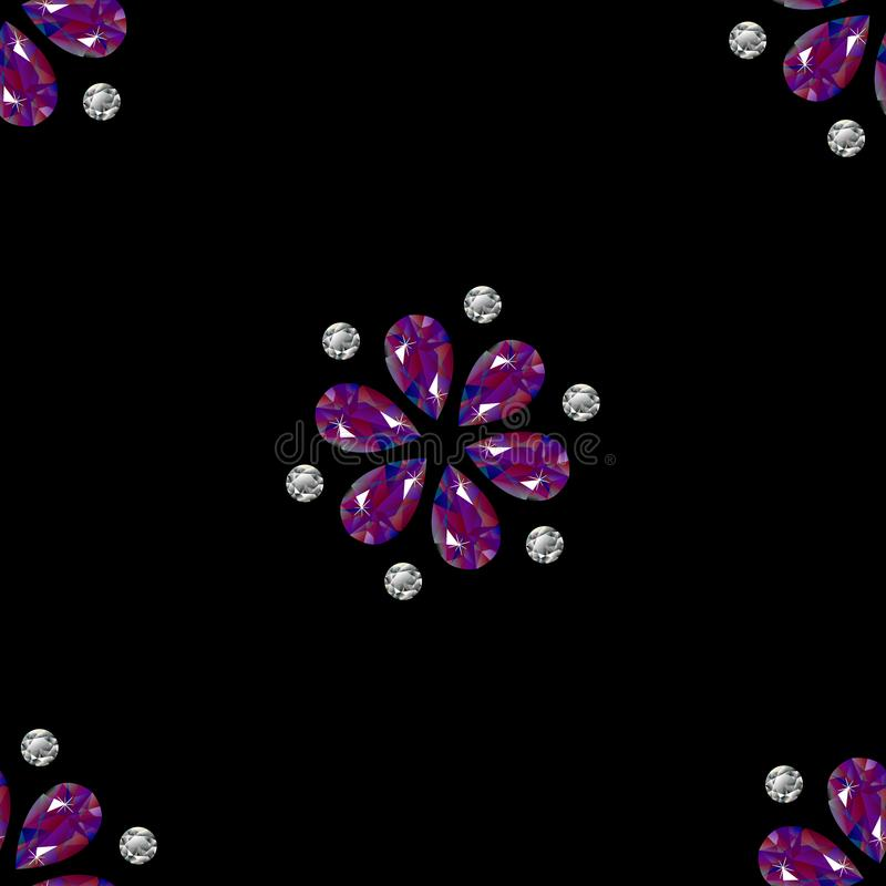 Flowers from precious stones. Seamless Pattern. Jewelry. Black background stock illustration
