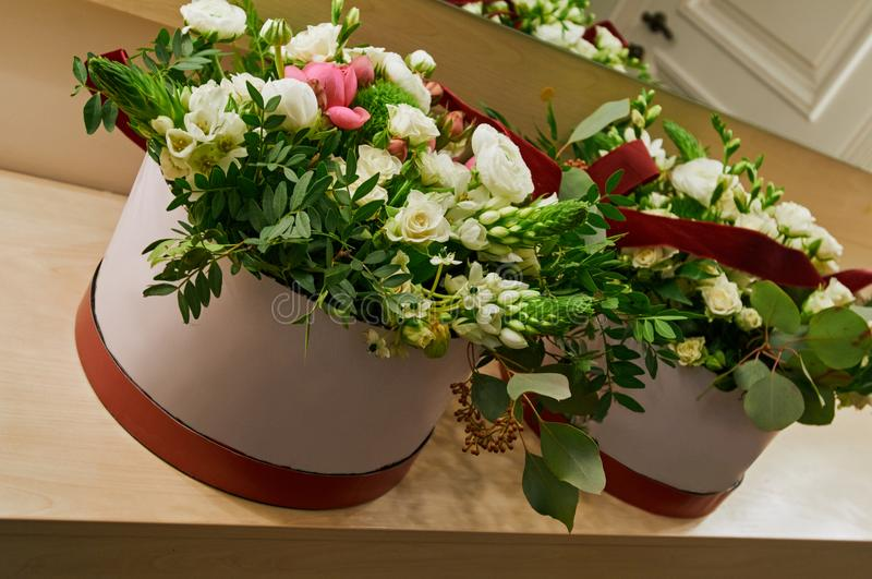 Flowers in present boxes royalty free stock image