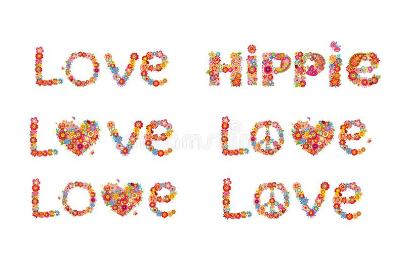 Flowers Print With Peace Flower Symbol Love And Hippie Word Stock