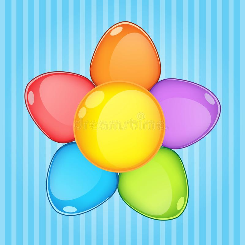 Flowers puzzle color rainbow button glossy jelly. stock illustration