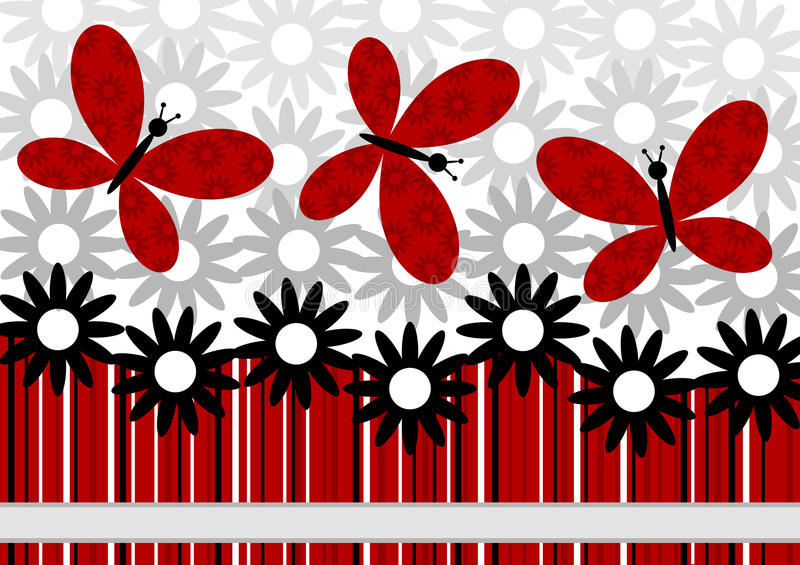 Flowers and Red Butterflies greeting card vector illustration