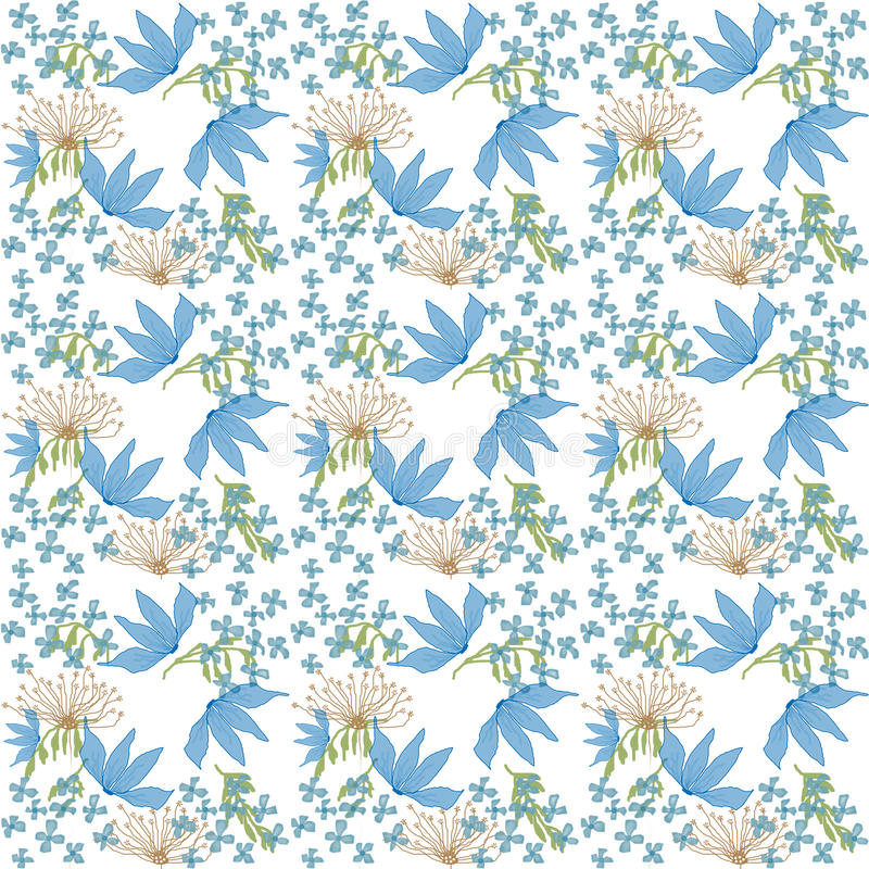 Flowers repeat pattern. Floral seamless repeat pattern on white background vector illustration