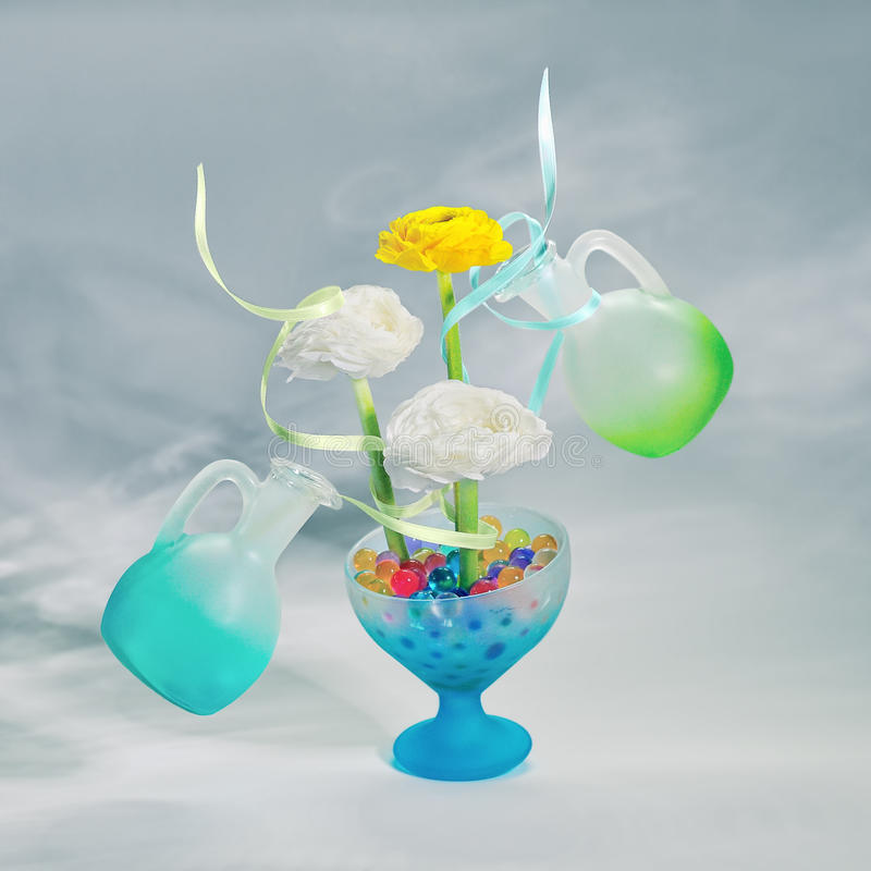 Download Flowers With Ribbons And Two Bottle. Stock Photo - Image: 24466828