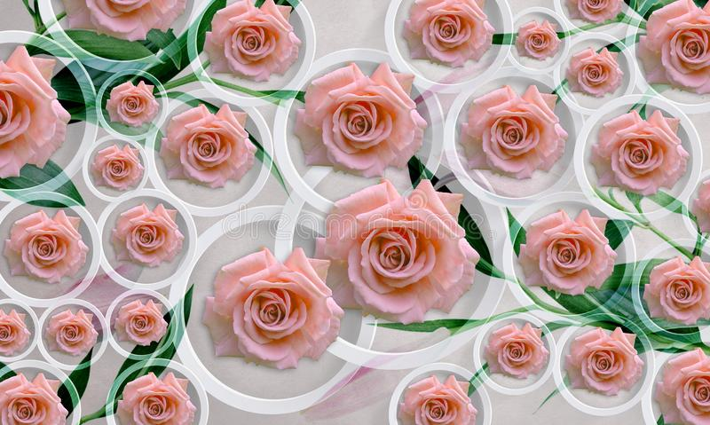 Flowers roses on white background in circles. Photo wallpaper for interior. 3D rendering. vector illustration