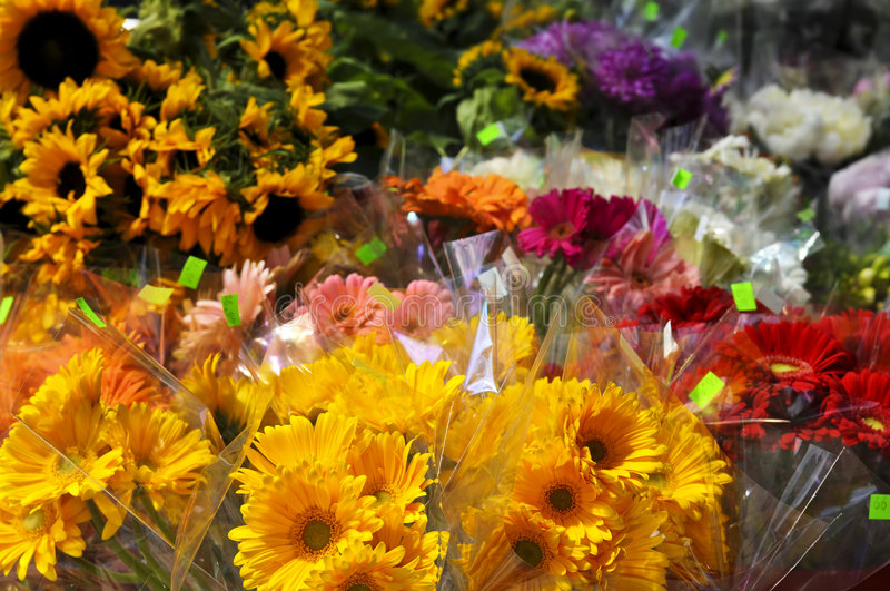 Flowers for sale stock photos