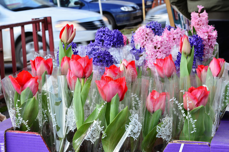 Flowers for sale on the street tulips hyacinth stock photo