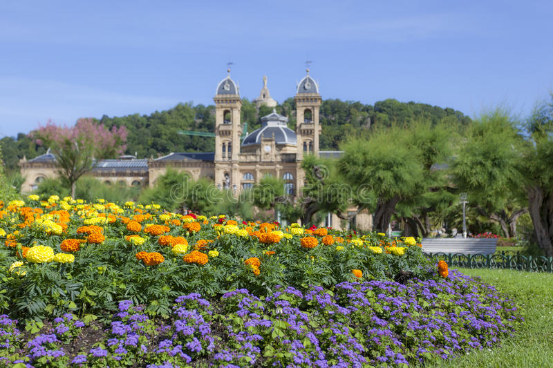Flowers in San Sebastian, Spain. Flowers in front of the historic city hall in San Sebastian. Basque country, Spain stock photography