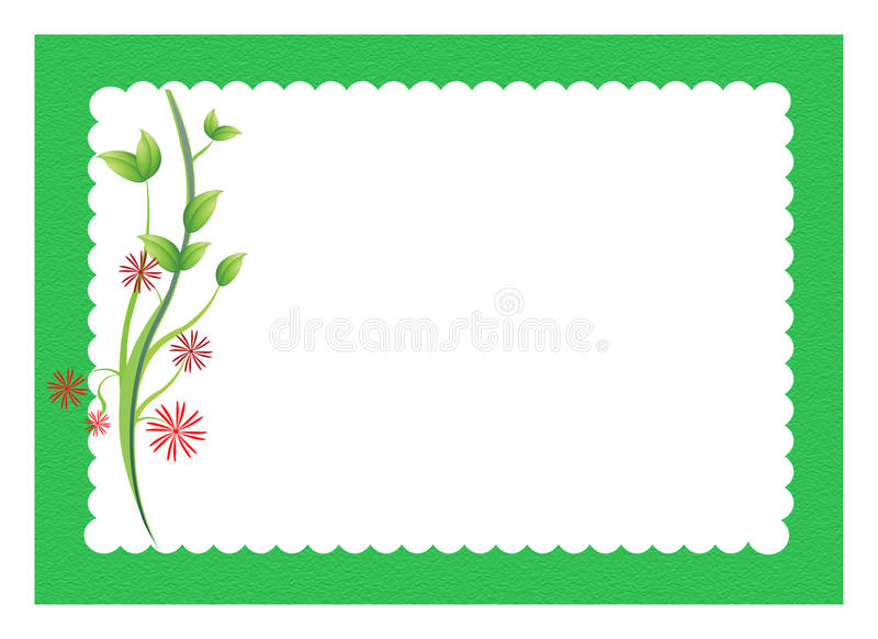 Flowers with scalloped border vector illustration