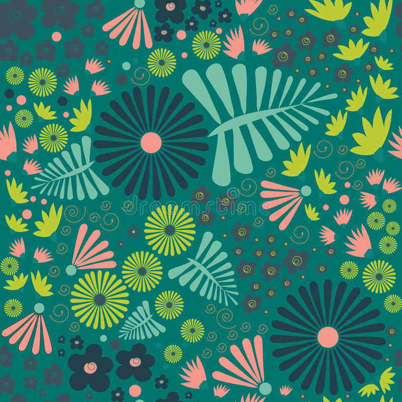 Flowers seamles pattern. Whimsical flowers seamles pattern stock illustration