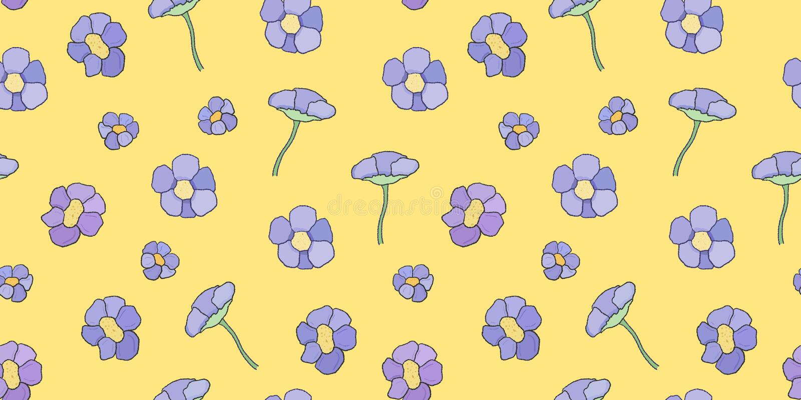 Yellow textile with flowers royalty free stock photography
