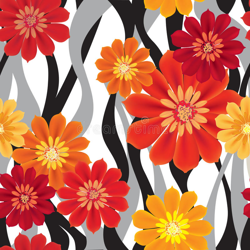 Flowers seamless background. Floral tiled texture royalty free illustration