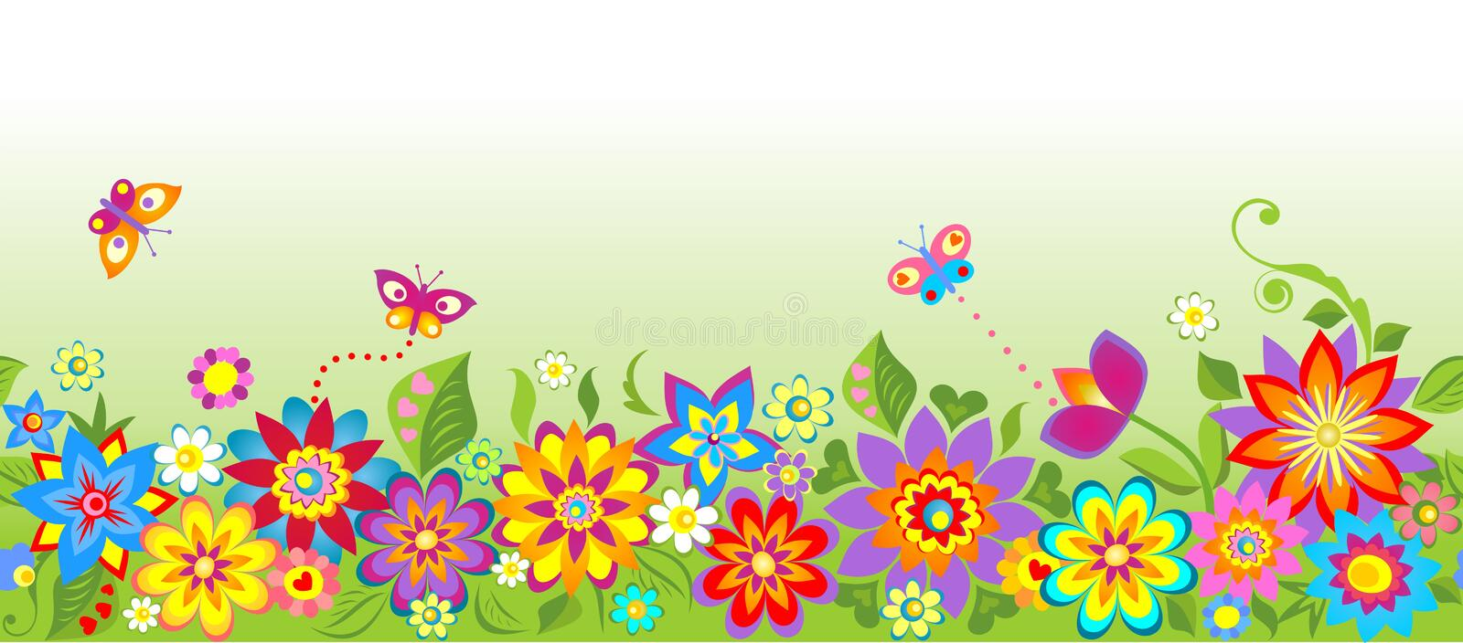 Flowers (seamless border) vector illustration