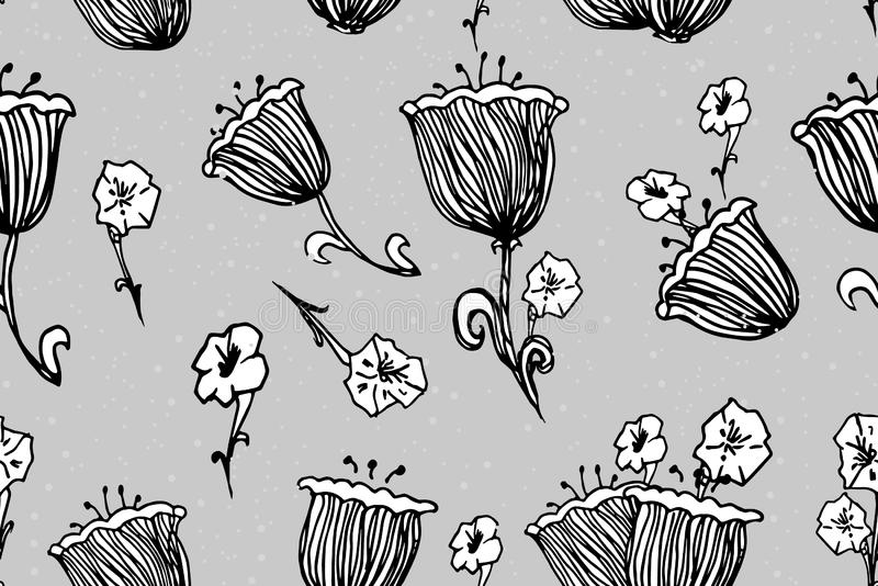Flowers seamless pattern. Fashion Wallpaper, fabric design. Spring Hand drawn ink Vintage. Illustration on style old paper. Pajamas, cover, wrapper, bedclothes royalty free illustration