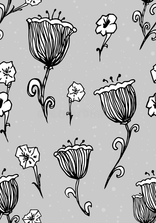 Flowers seamless pattern. Fashion Wallpaper, fabric design. Spring Hand drawn ink Vintage. Illustration on style old paper. Pajamas, cover, wrapper, bedclothes vector illustration