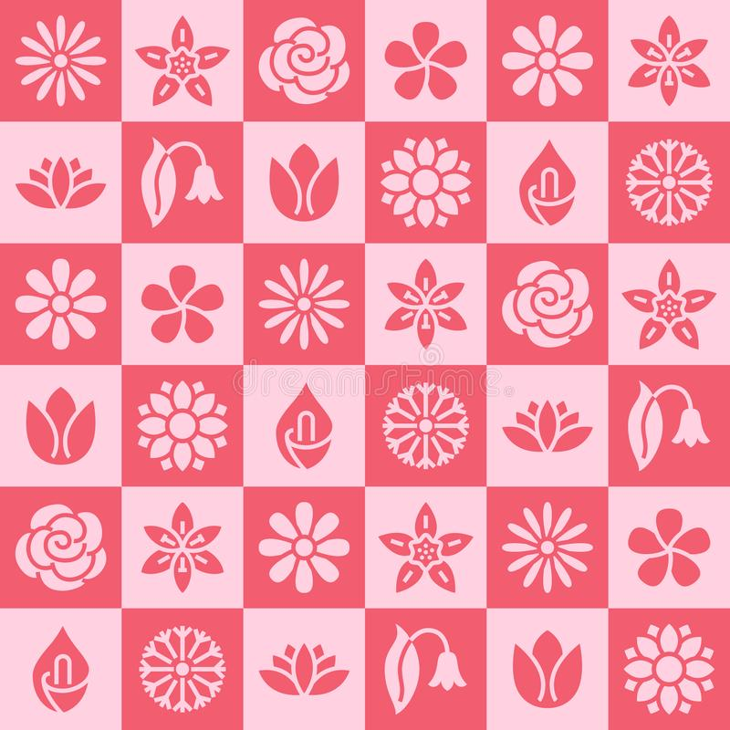 Flowers seamless pattern with flat glyph icons. Floral background beautiful garden plants chamomile, sunflower, rose vector illustration
