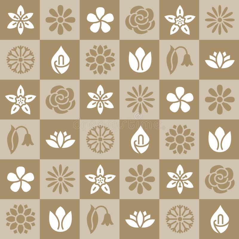 Flowers seamless pattern with flat glyph icons. Floral background beautiful garden plants chamomile, sunflower, rose stock illustration