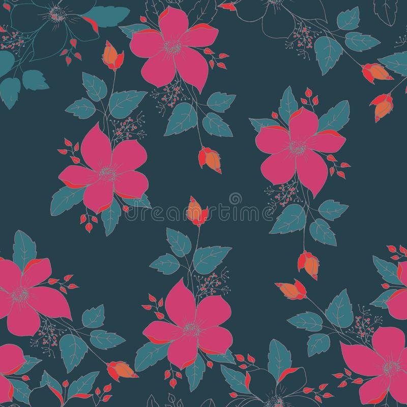 FLOWERS SEAMLESS PATTERN. PLAIN DEEP BLUE BACKGROUND. SEAMLESS PATTERN. FLOWERS FUCHSIA AND ORANGE. PLAIN DEEP BLUE BACKGROUND stock photos