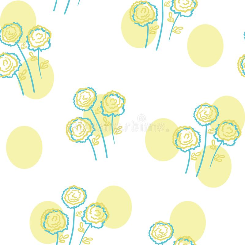 Flowers seamless pattern with yellow stains stock illustration