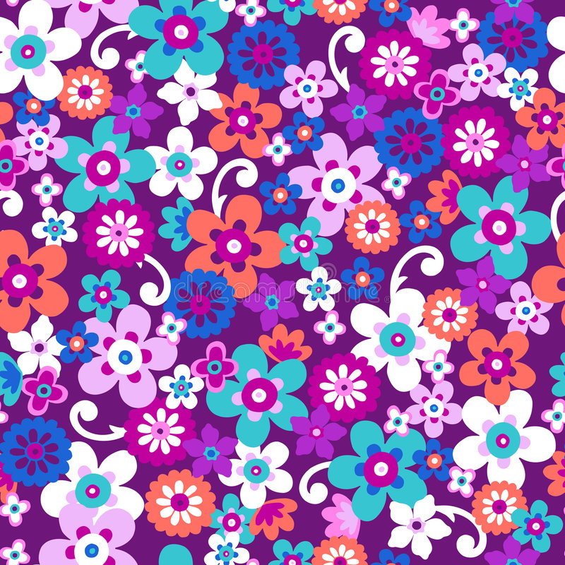 Flowers Seamless Repeat Pattern Vector stock illustration