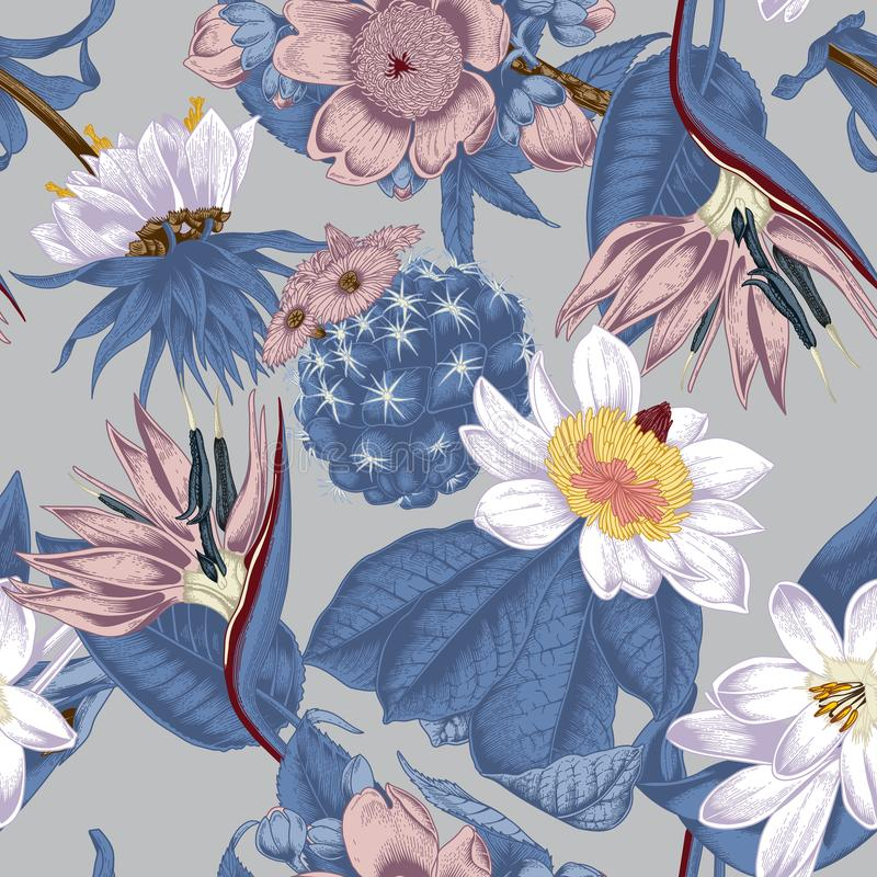 Flowers. Seamless vector background. Exotica. Tropics royalty free illustration