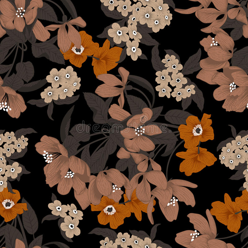 Flowers. Seamless vector background. Flower texture. Floral pattern. Vintage. Classic. Botany. vector illustration