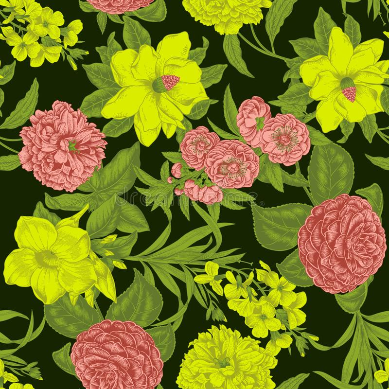 Flowers. Seamless vector background. Vintage illustration. vector illustration
