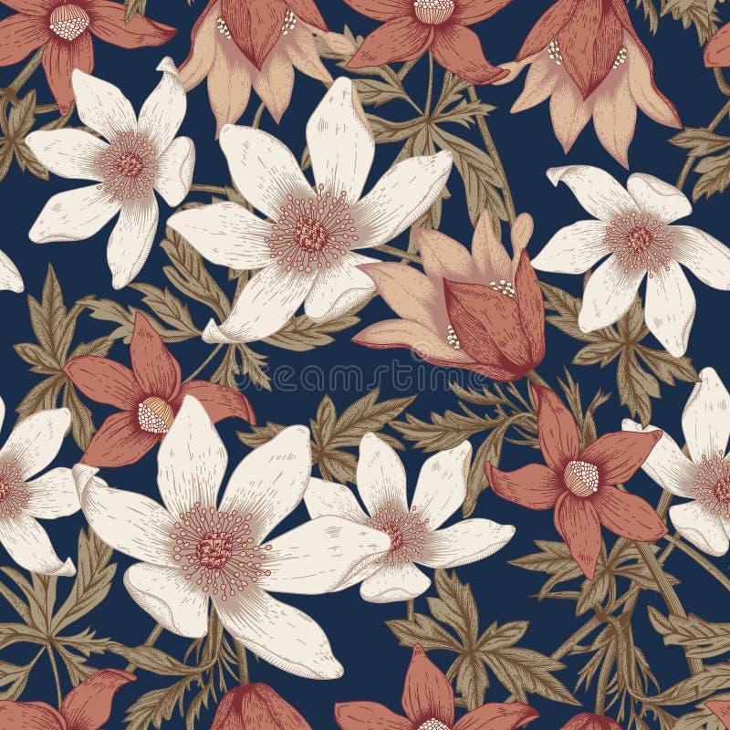 Flowers. Seamless vector background. stock illustration