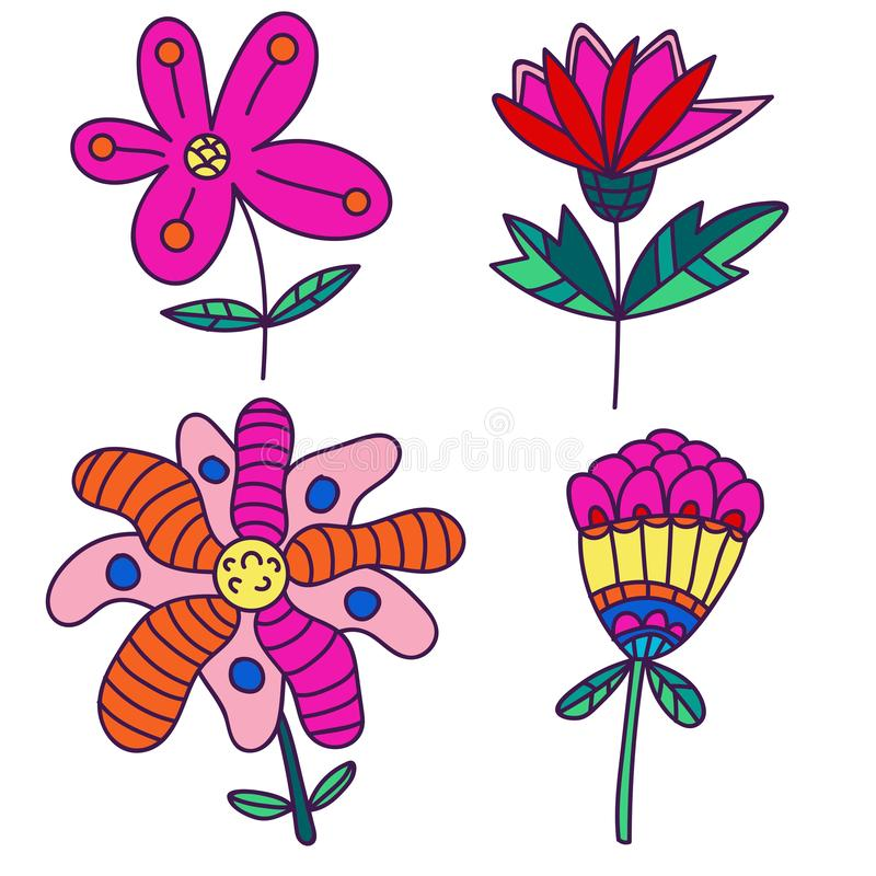 Set of cartoon fantasy flowers. Doodle floral elements isolated. On white background. Vector illustration vector illustration