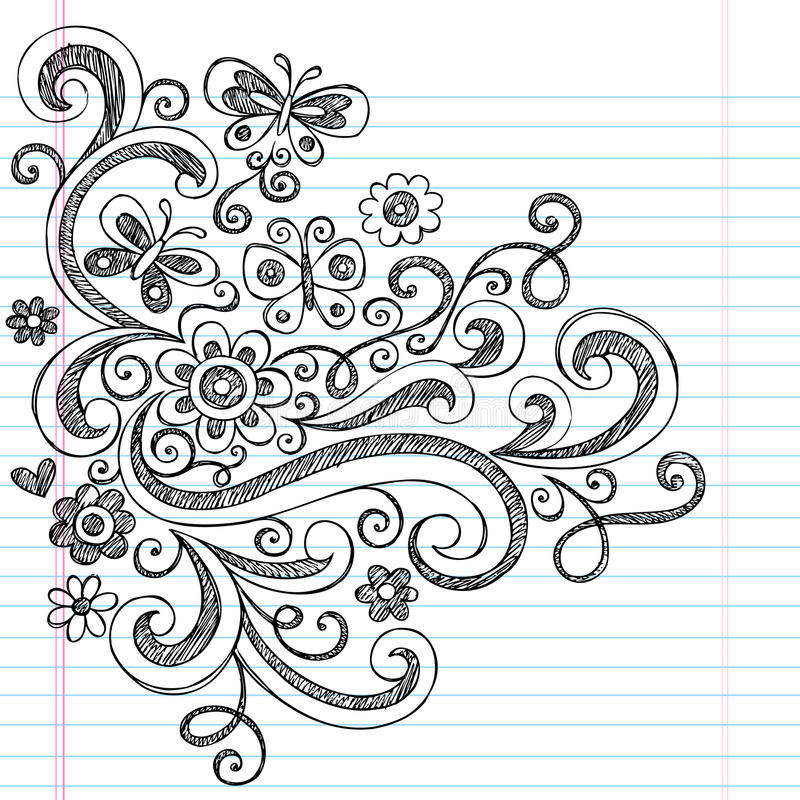Flowers Sketchy Back To School Doodles Royalty Free Stock Photos