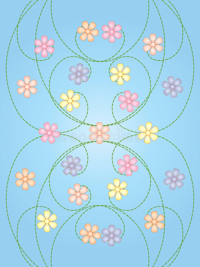 Flowers on spiral curves royalty free illustration