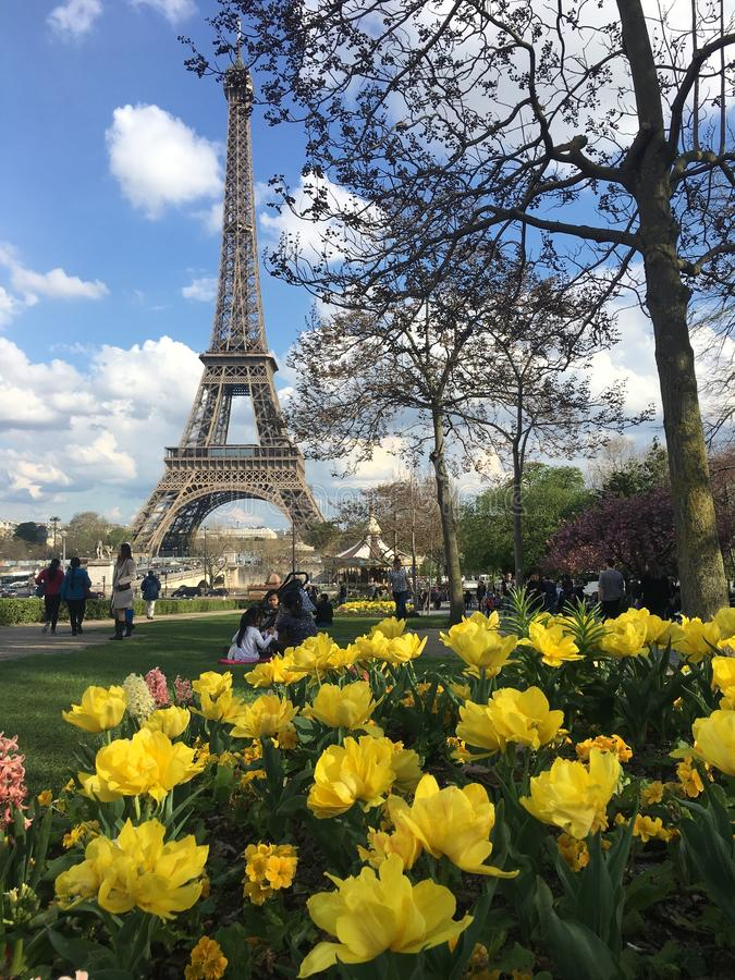 Eiffel Tower in spring, Paris-France. April 2018. stock image