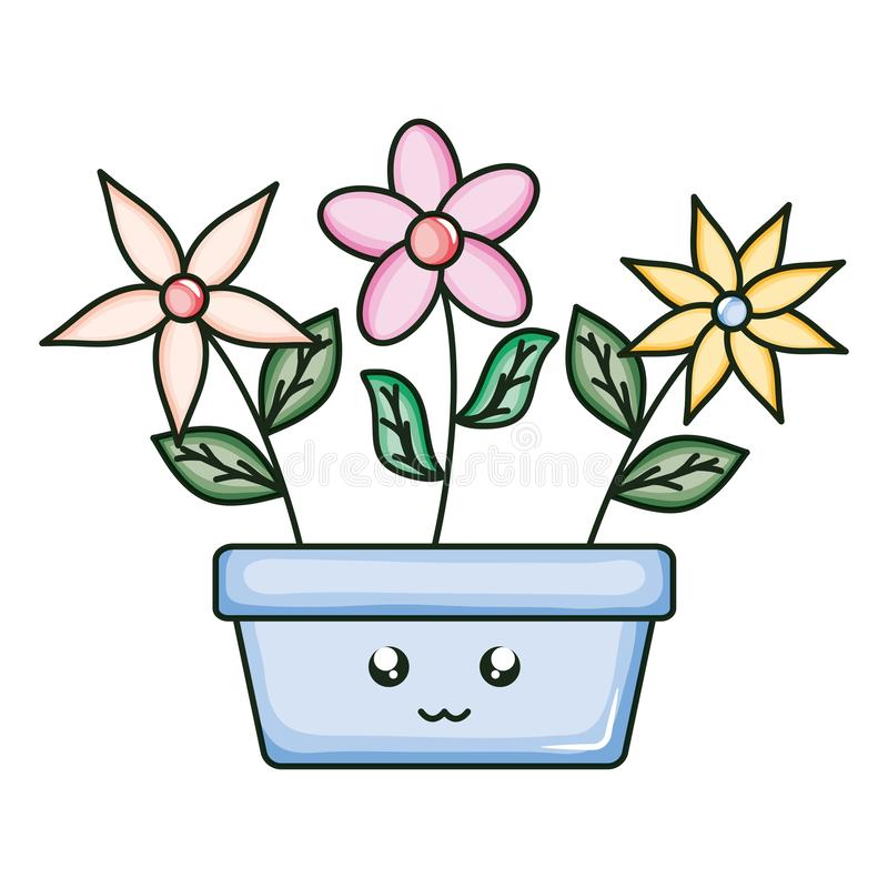 Flowers in square ceramic pot kawaii character. Vector illustration design vector illustration