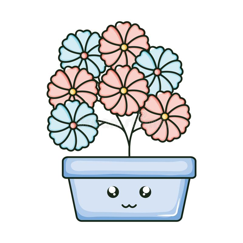 Flowers in square ceramic pot kawaii character. Vector illustration design stock illustration