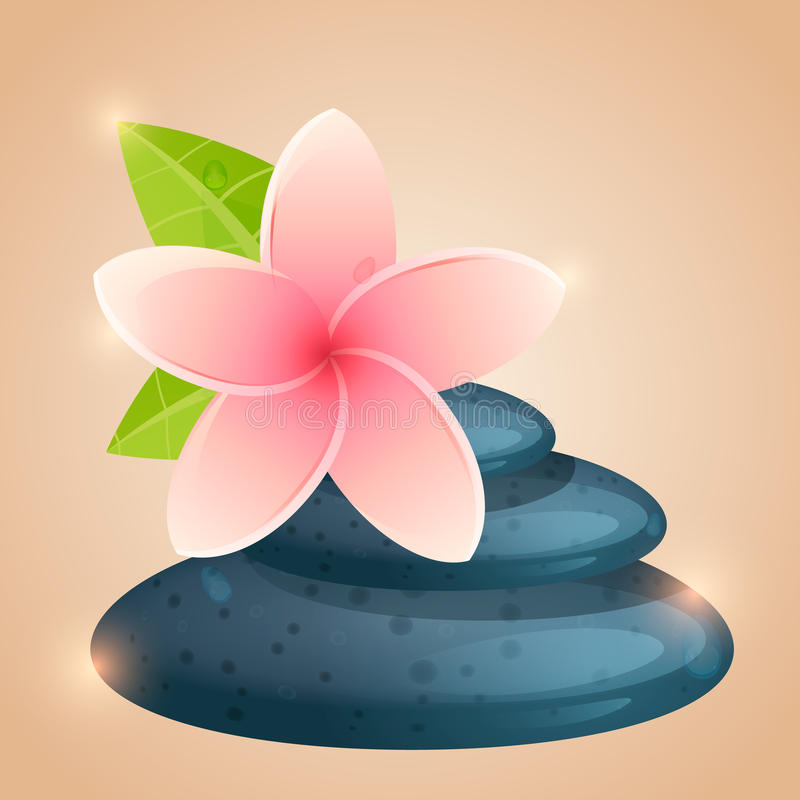 Flowers and stones for Spa. Template for flyers, leaflets, stickers and signs. Close up view of spa theme objects on background. vector illustration vector illustration