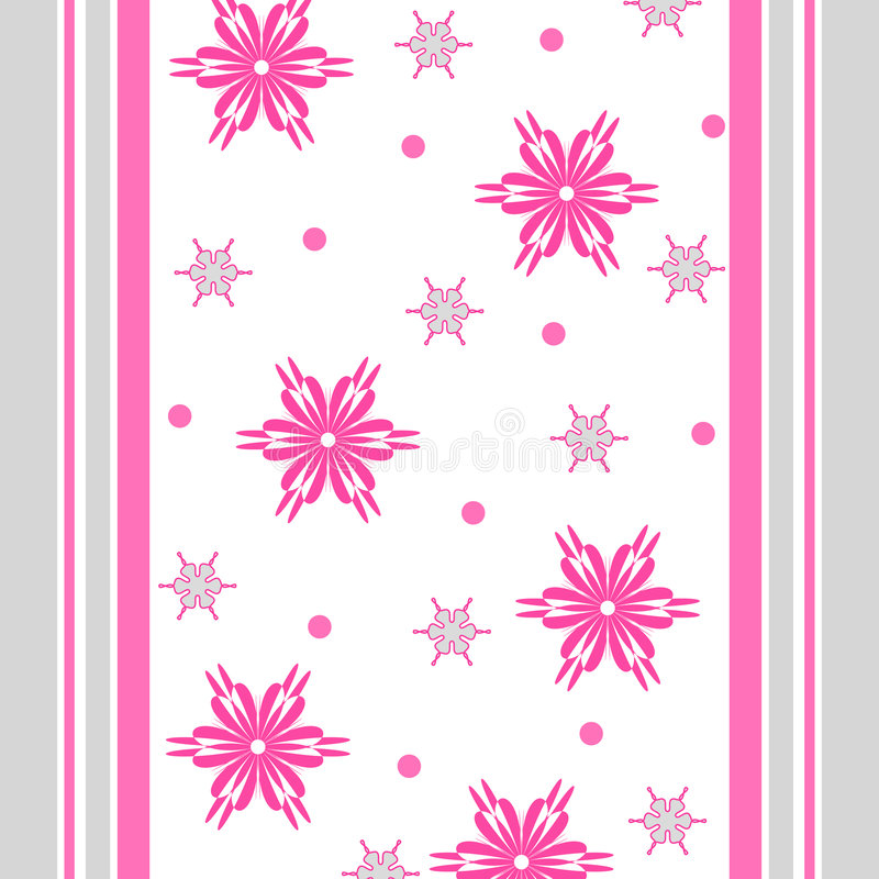 Flowers and stripes. Funky flowers and stripes in pink and grey colors vector illustration