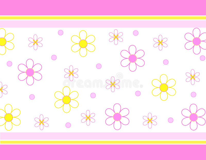 Flowers and stripes. Funky flowers and stripes in pink and yellow royalty free illustration