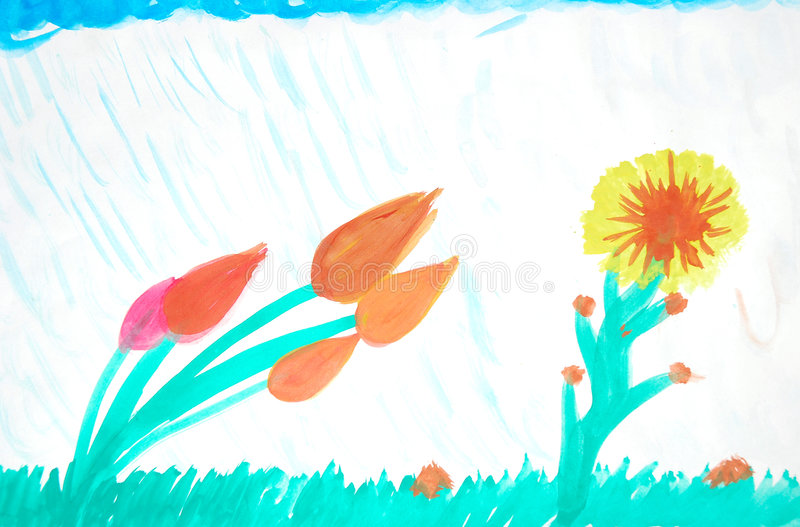 Flowers in summer rain shower. Illustration of hand drawn colorful flowers during a shower of rain in summertime vector illustration