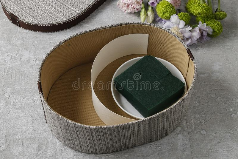 Flowers and sweets in cartoon box - how to make adorable gift, s. Tep by step, tutorial stock photo