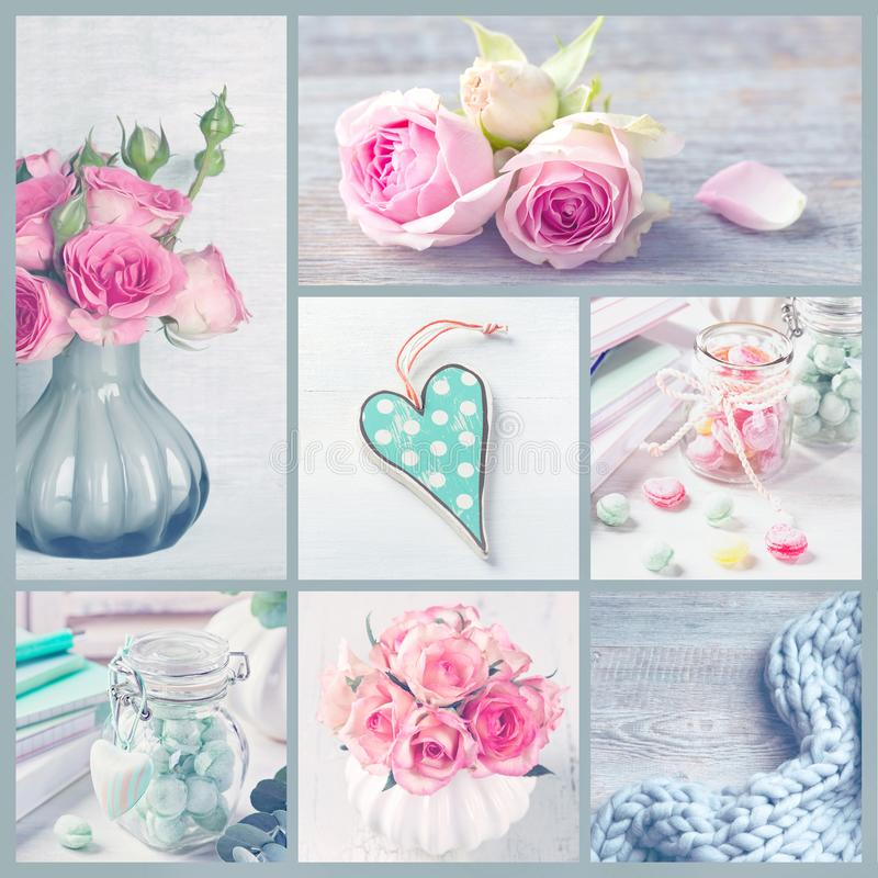 Flowers and sweets. Collage with pastel colored photos of flowers and sweets royalty free stock photography